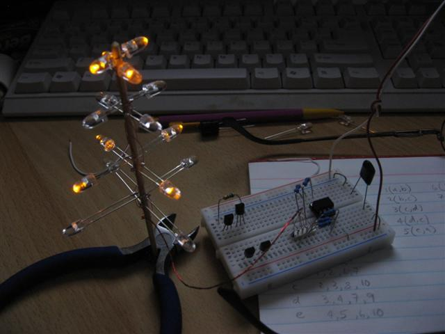 The prototype charlieplexed LED Christmas tree display under development