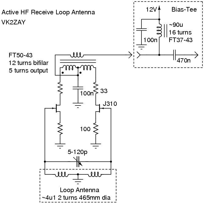 Alan Yates' Laboratory - Phantom-Powered Active Loop Receive Antenna