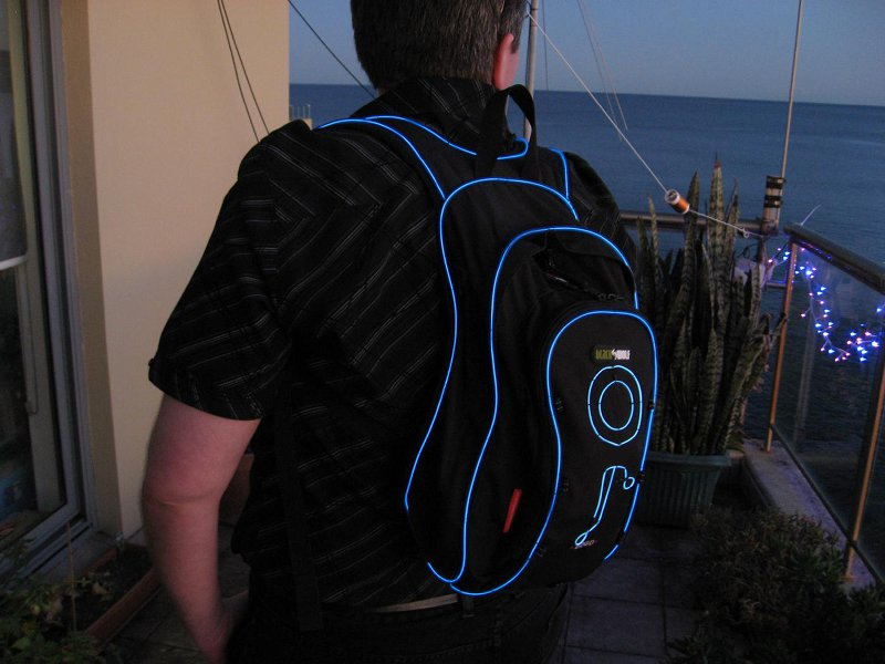 Side-view of TRON-pak backpack.